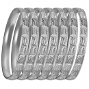 GLG1-52FS  6mm Silver Plated Laser Cut  Semanario Bangle