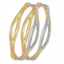 GLG150 Gold Plated 2-Tone CZ Bangle