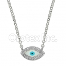 N 001 Silver Layered Eye Necklace