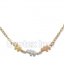 N002 Gold Layered Tri-Color Necklace