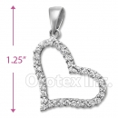 925 Sterling Silver Cz Heart Charm