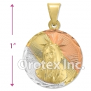 P196 Gold Layered Tri-Color Pendant