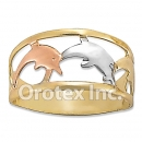R016 Gold Layered Tri Color Women's Ring