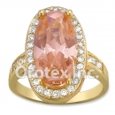 R072 Gold Layered CZ Ring