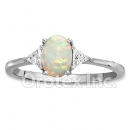925 Sterling Silver White Opal Cz Women's Ring