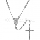 Orotex Silver Layered Diamond Cut Rosary
