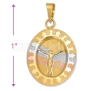 Oro Tex Gold Layered Tri-color Jesus Charm