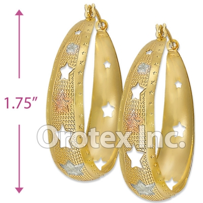 EH058 Gold Layered Tri-color Hoop Earrings