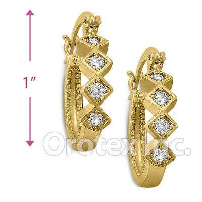 EH290 Orotex Gold Layered Fancy CZ Huggies Earrings