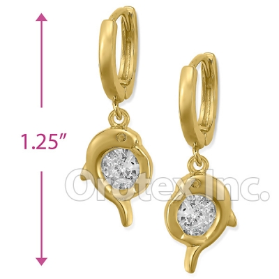 EL351 Orotex Gold Layered CZ Long Earrings