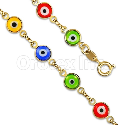 Orotex Gold Layered Multicolor Eye Bracelet