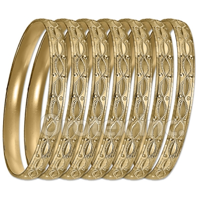 GLG1-52BG   6mm Gold Plated Laser Cut  Semanario Bangle