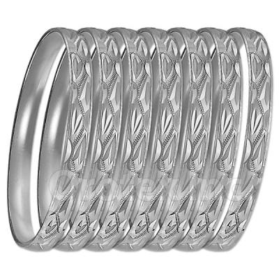 GLG1-52DS  6mm Silver Plated Laser Cut  Semanario Bangle