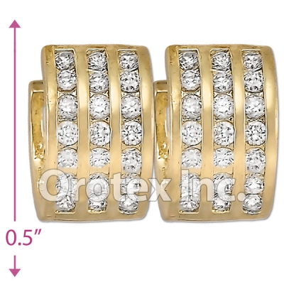 H63R12  Gold Layered  CZ Huggies Earring
