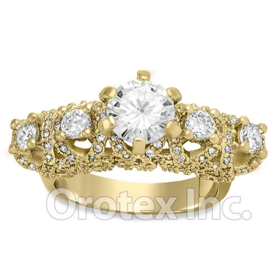 Gold Layered Fancy Cz Women's Engagement Ring