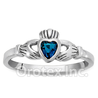 925 Sterling Silver Blue Topaz Claddagh Womens Ring