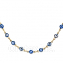 Orotex Gold Layered Blue Eye Necklace