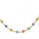 Orotex Gold Layered Multicolor Eye Necklace