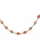 Orotex Gold Layered Red Eye Necklace