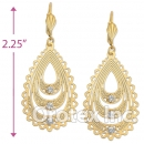 061002 Gold Layered CZ Long Earrings
