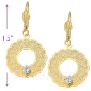 077013 Gold Layered CZ Long Earrings