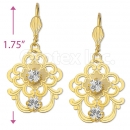 081013 Gold Layered CZ Long Earrings