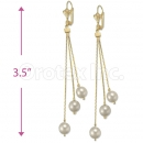 Oro Tex Gold Layered Long Pearl Earrings