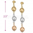 Orotex Gold Layered Tri-color Long Earrings