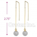 092005 Gold Layered CZ Long Earrings