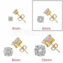 Orotex Gold Layered 6mm  Round CZ Stud Earrings