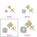 Orotex Gold Layered 8mm  Round CZ Stud Earrings
