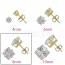 Orotex Gold Layered 8mm Square CZ Stud Earrings