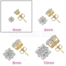 Orotex Gold Layered 4mm 4-Cut Square CZ Stud Earrings