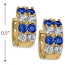 097035BL Gold Layered  CZ Huggies Earring