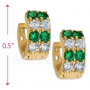 097035G  Gold Layered  CZ Huggies Earring