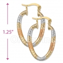 105002  Gold Layered Tri-color Hoop Earrings
