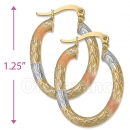 105008  Gold Layered Tri-color Hoop Earrings