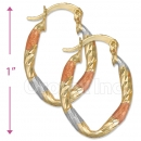 105011  Gold Layered Tri-color Hoop Earrings