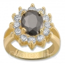 Orotex Gold Layered Black & White CZ Women's Ring