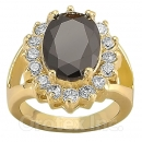 118062 Gold Layered Black & White CZ Women's Ring