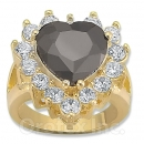 118072 Gold Layered Black & White CZ Women's Ring