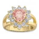 Orotex Gold Layered Pink & White CZ Women's Ring