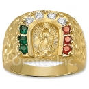 Oro Tex Gold Layered CZ Guadalupe Men's Ring