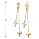 *EL105 Oro Tex Gold Layered Tri-color Long Earrings