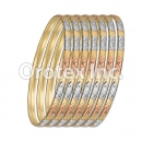 B042 Gold Plated Tri-Color Bangle
