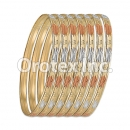 B045 Gold Plated Tri-Color Bangle