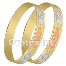 B167 Gold Layered Tri-Color 10MM Bangle