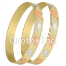 B168 Gold Layered Tri-Color 10MM Bangle