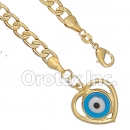 BR005 Gold Layered Blue Eye Bracelet
