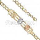 BR013  Gold Layered Tri-Color Bracelet